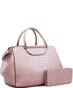 Alligator Print Soft Faux Leather Designer Tote Shop Handbag Shoulder Bag Purse with Matching Wallet 87754 BLUSH