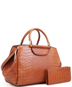Alligator Print Soft Faux Leather Designer Tote Shop Handbag Shoulder Bag Purse with Matching Wallet 87754 BROWN