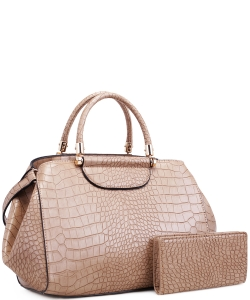 Alligator Print Soft Faux Leather Designer Tote Shop Handbag Shoulder Bag Purse with Matching Wallet 87754 LTAUPE