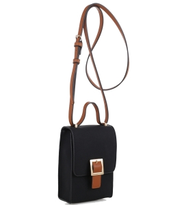 PU Leather Small Crossbody Shoulder Bag with Strap for Women Smartphone 87876 BLACK/BROWN