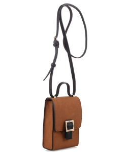 PU Leather Small Crossbody Shoulder Bag with Strap for Women Smartphone 87876 BROWN/BLACK
