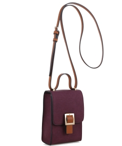 PU Leather Small Crossbody Shoulder Bag with Strap for Women Smartphone 87876 WINE/BROWN