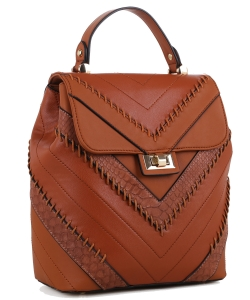 Cute Chevron Stitched Backpack 87885 BROWN