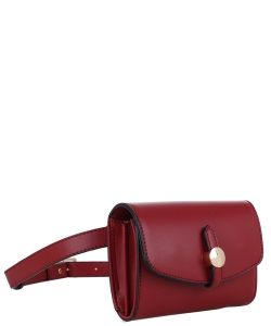 Multi compartment Fashion Fanny Pack 87935 BURGANDY