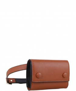 Multi compartment Fashion Fanny Pack 87936 BROWN/BLACK
