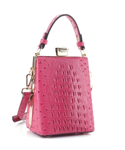 Ostrich Diamond Top Twist Lock Closure Messenger Bag 87953 FUSHIA