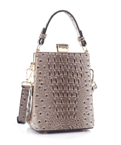 Ostrich Diamond Top Twist Lock Closure Messenger Bag 87953 TAUPE