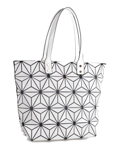 Women's Fashion Geometric Lattice Tote Glossy PU Leather Shoulder Bag 87960 WHITE