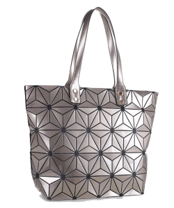 Women's Fashion Geometric Lattice Tote Glossy PU Leather Shoulder Bag 87960 CHAMP