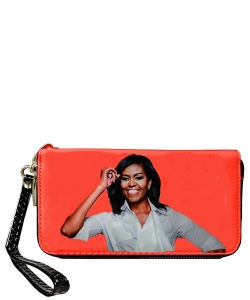 Fashion Magazine Print Faux Patent Leather Wallet 888  ORANGE