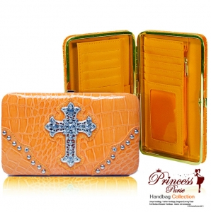 Designer Inspired Croco-Texture Wallet w/ Cross Sign on Front Rhinestone Accent