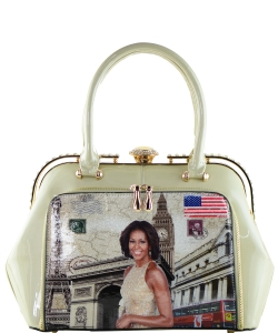 Fashion Magazine Print Faux Patent Leather Handbag With Gold Embellishments 9255 APRICOT