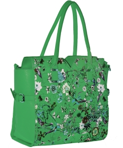 Floral Black Flower Faux Leather Tote Bag GREEN