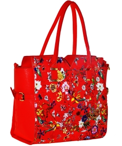 Floral Black Flower Faux Leather Tote Bag RED