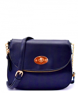 Hardware Accent Zipper Pocket Flap-over Satchel A046BS NAVY
