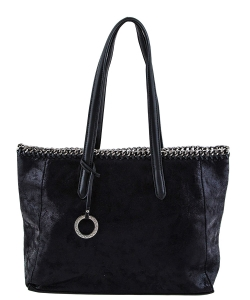 Laced Chain Shimmery Distressed Tote A81016 BLACK