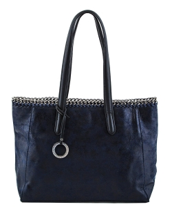 Laced Chain Shimmery Distressed Tote A81016 BLUE