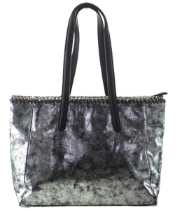 Laced Chain Shimmery Distressed Tote A81016 GREY