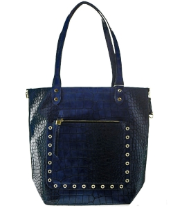 Classy Crocodile  Leather Handbag BLUE