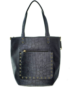 Classy Crocodile  Leather Handbag BLACK