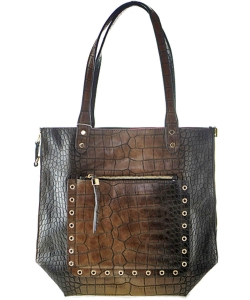 Classy Crocodile  Leather Handbag BROWN