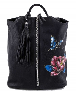 Butterfly & Flower Print Center Open Backpack  A81021 BLACK