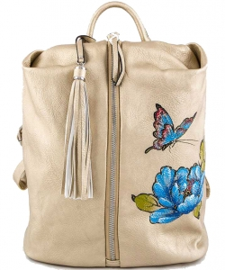 Butterfly & Flower Print Center Open Backpack  A81021 GOLD