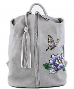 Butterfly & Flower Print Center Open Backpack  A81021 GRAY