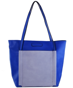 Fashion  Accented Tote Handbag With Long Strap A81036 BLUE