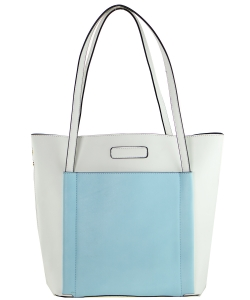Fashion  Accented Tote Handbag With Long Strap A81036 WHITE