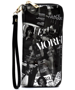 Magazine Cover Collage Zip Around Wallet Wristlet AA-706 BLACK