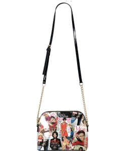Magazine Cover Collage Dome Crossbody Bag AA6994 MULTI