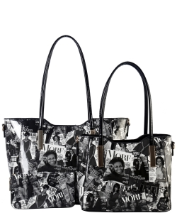 3 in 1 Michelle Obama Magazine Handbag Set - AA7301 black