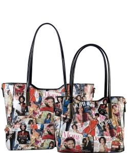 3 in 1 Michelle Obama Magazine Handbag Set - AA7301 multi