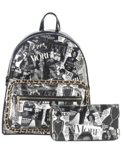 Magazine Print 2 in 1 Backpack AA7311W BLACK