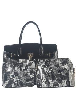 Fashion Magazine Handbag 3in1 AA7312W BLACK