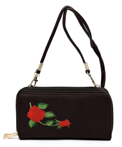 Embroidered Flower Double Zip Around Crossbody Wallet AD040E BROWN