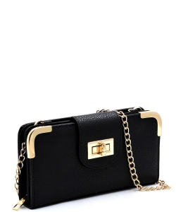 Fashion Turn Lock Crossbody Wallet AD041 BLACK