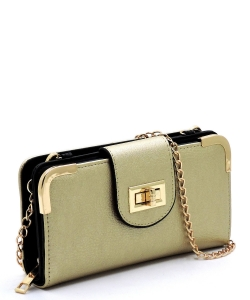 Fashion Turn Lock Crossbody Wallet AD041 GOLD