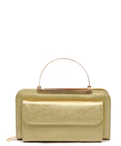 Fashion Round Top Handle Crossbody Clutch Wallet AD048 GOLD