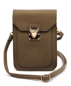 Fashion Push Lock Cell Phone Case Crossbody Bag AD075 TAUPE
