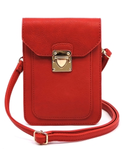 Fashion Push Lock Cell Phone Case Crossbody Bag AD075 RED