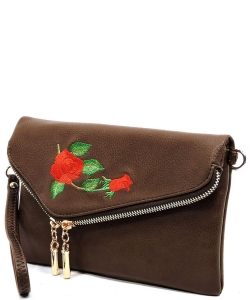 Embroidered Flower Envelope Crossbody Clutch  AD2585E BROWN