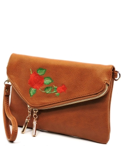 Embroidered Flower Envelope Crossbody Clutch  AD2585E TAN