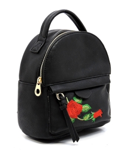 Fashion Embroidered Flower Cute Backpack AD2586E BLACK