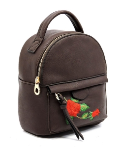 Fashion Embroidered Flower Cute Backpack AD2586E BROWN