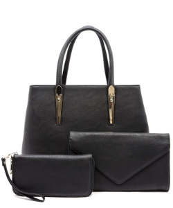 3-in-1 Top Handle Handbag Set AD2678 BLACK