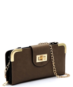Fashion Turn Lock Crossbody Wallet AD041 TAUPE