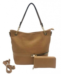 Two in One Tote Handbag Designer with Wallets AG313 CAMEL