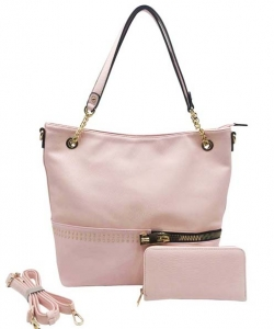 Two in One Tote Handbag Designer with Wallets AG313 PINK